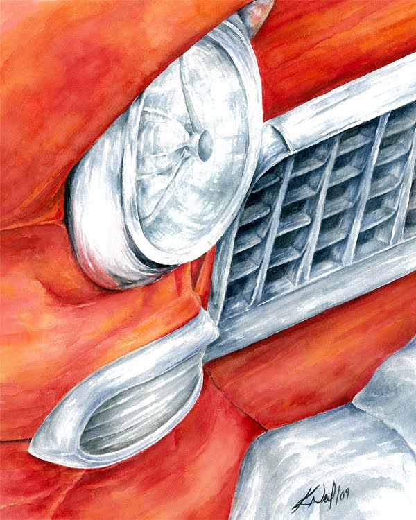 classic car, watercolour, 2009
