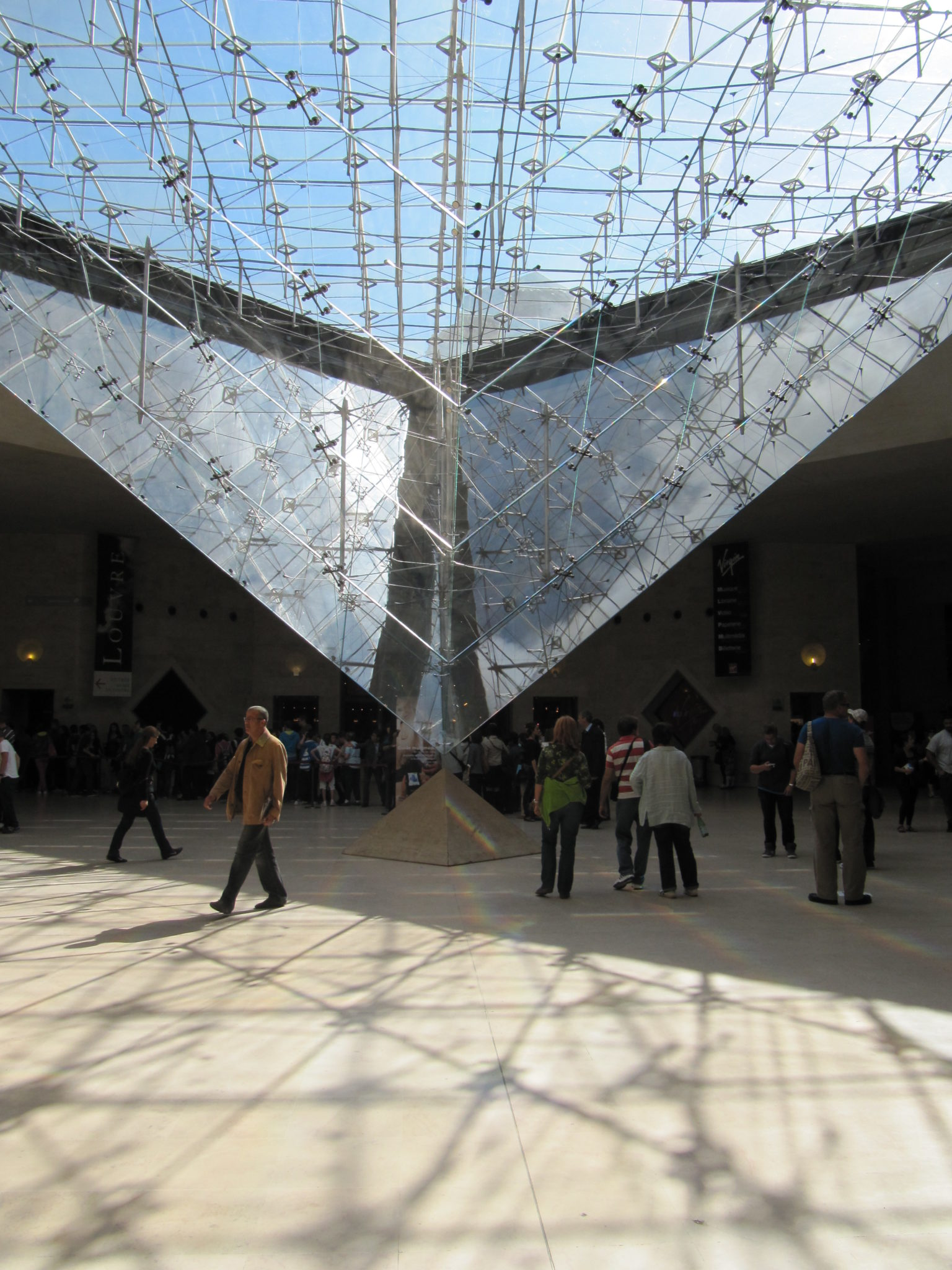 Inverted glass pyramid inside Louvre