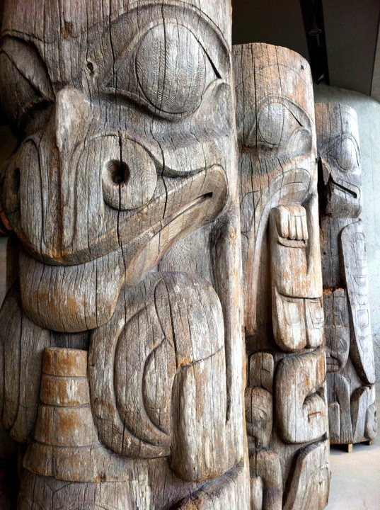 The splendidly sculpted Haida totems