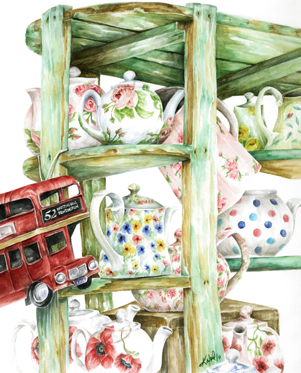 Alice's Teapots, watercolour, 2011