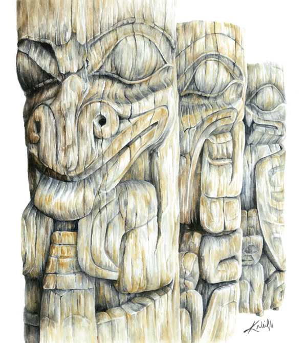 Haida Totems, watercolour, 2011