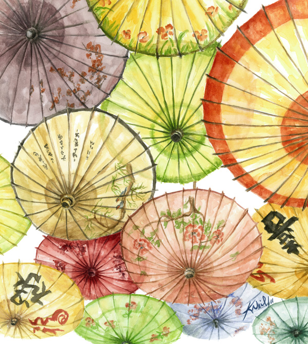 Paper Umbrellas, watercolour, 2011