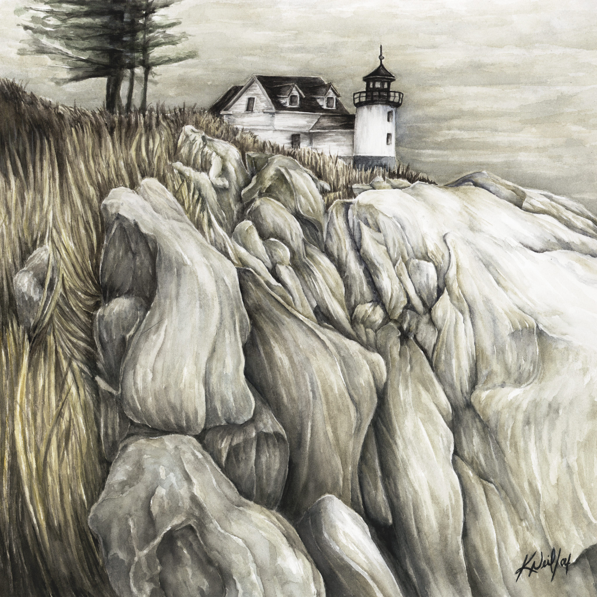 Bass Harbor Head Lighthouse, watercolour, 2004