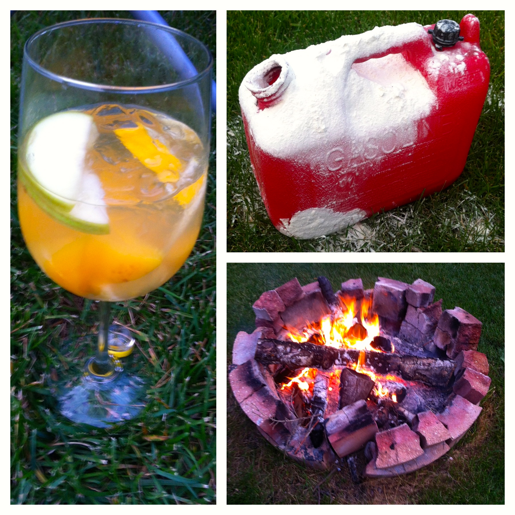 "Oops. Sangria and fire making don't mix. Here's a collage of ""the incident."" After savouring too much sangria throughout the day, I increased my boneheadedness by tossing ""a wee bit"" of gas in the fire pit from a jerry can. Tip: Never do this. Ever."