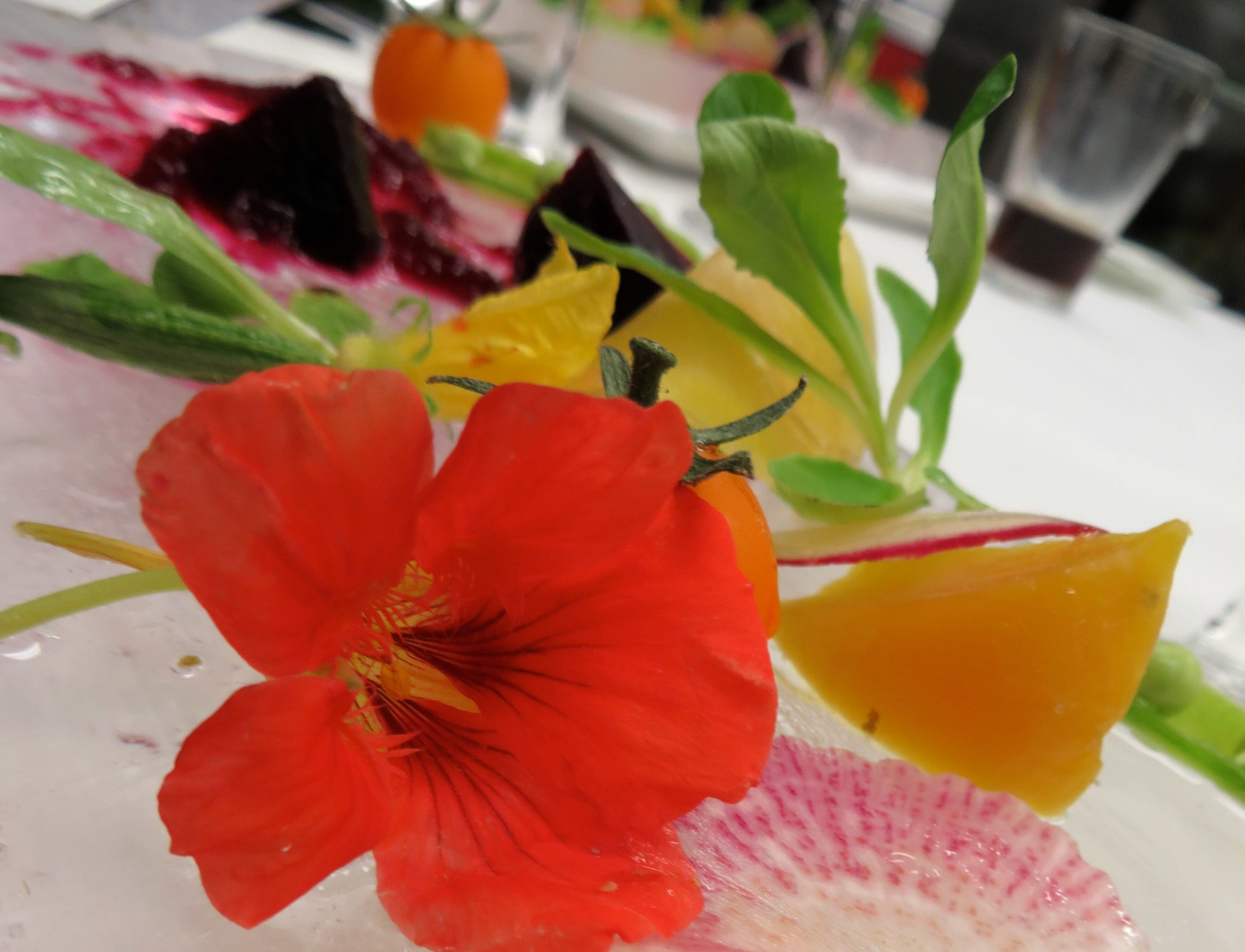 Ice salad of beets, shoots and edible flowers.