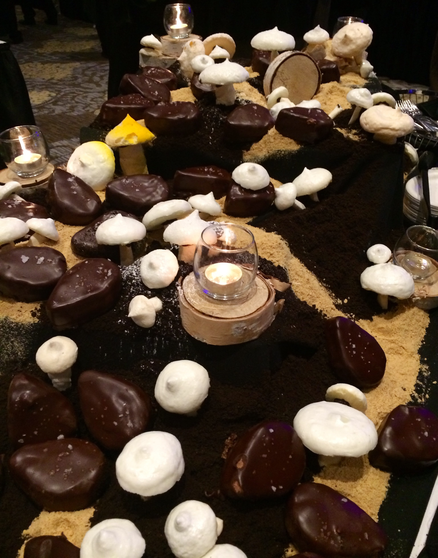 Mushrooms for dessert? Yes, please! The Fairmont's Candie Cap & Truffle Torte Meringue Toque on Cookie Soil.