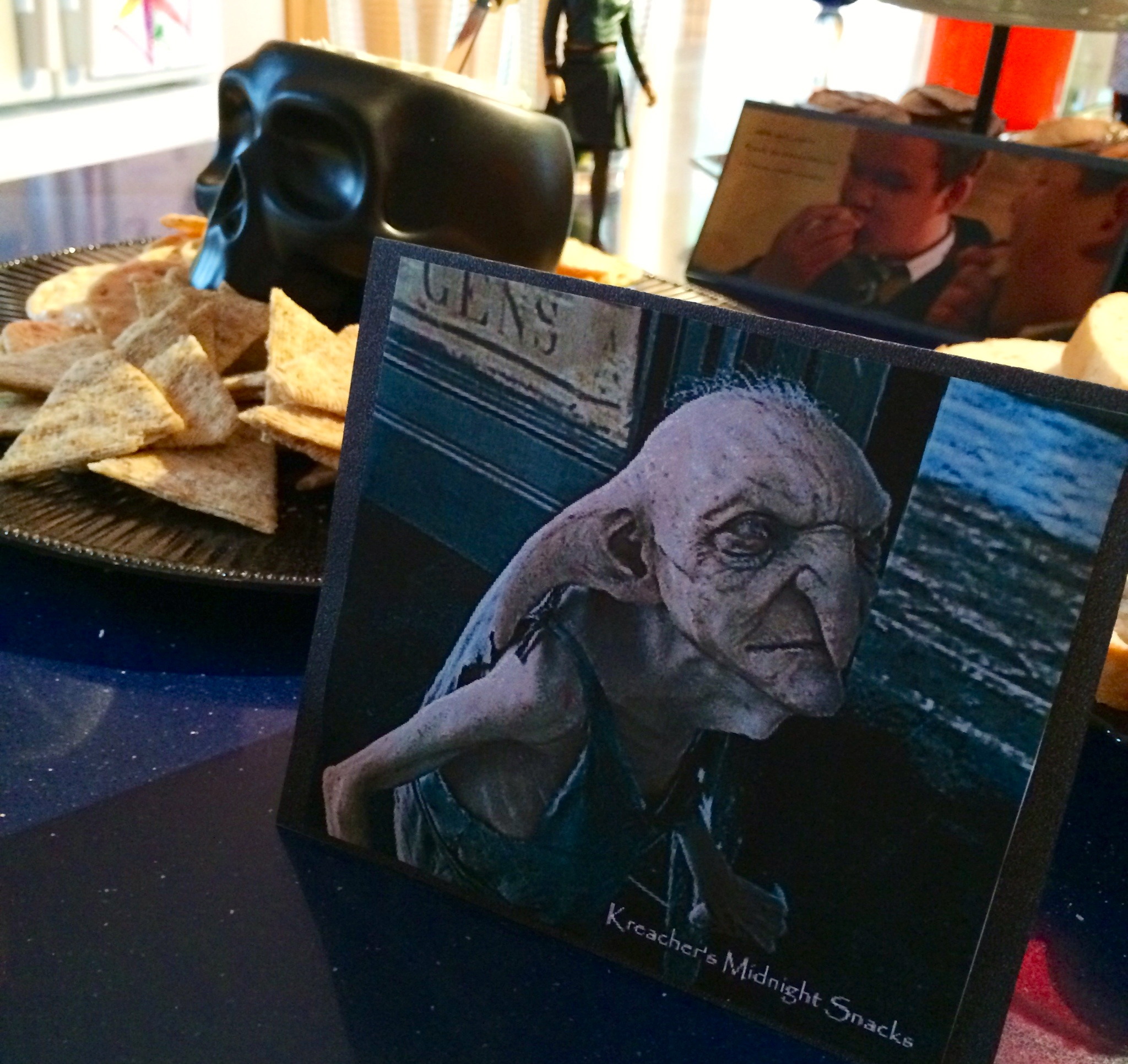 Kreacher the house elf prepared a feast for us muggles. He was not happy about it.