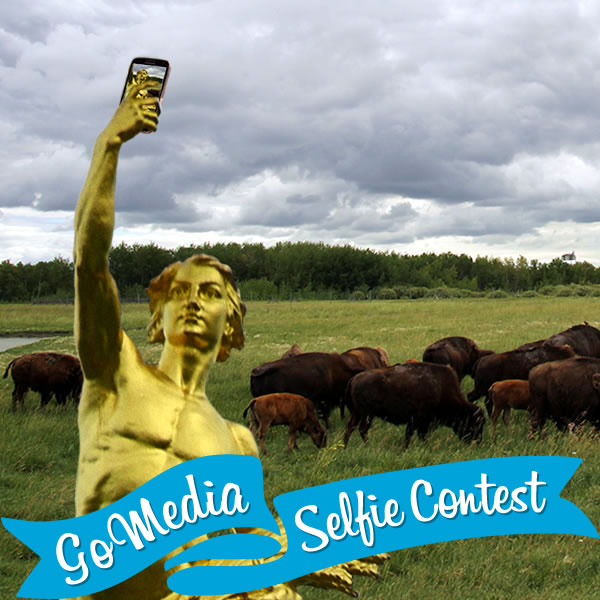 The Golden Boy at FortWhyte Alive. GoMedia 2014 Selfie Contest for Travel Manitoba.