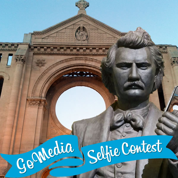 Louis Riel, St. Boniface Cathedral. GoMedia 2014 Selfie Contest for Travel Manitoba.